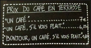 Nice, France café - being rude is costly