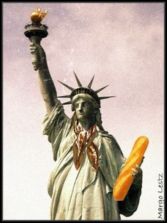 statue of liberty with baguette