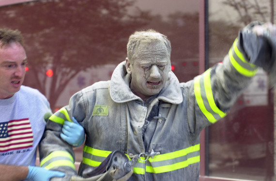 Firefighter covered with ash after World Trade Center collap