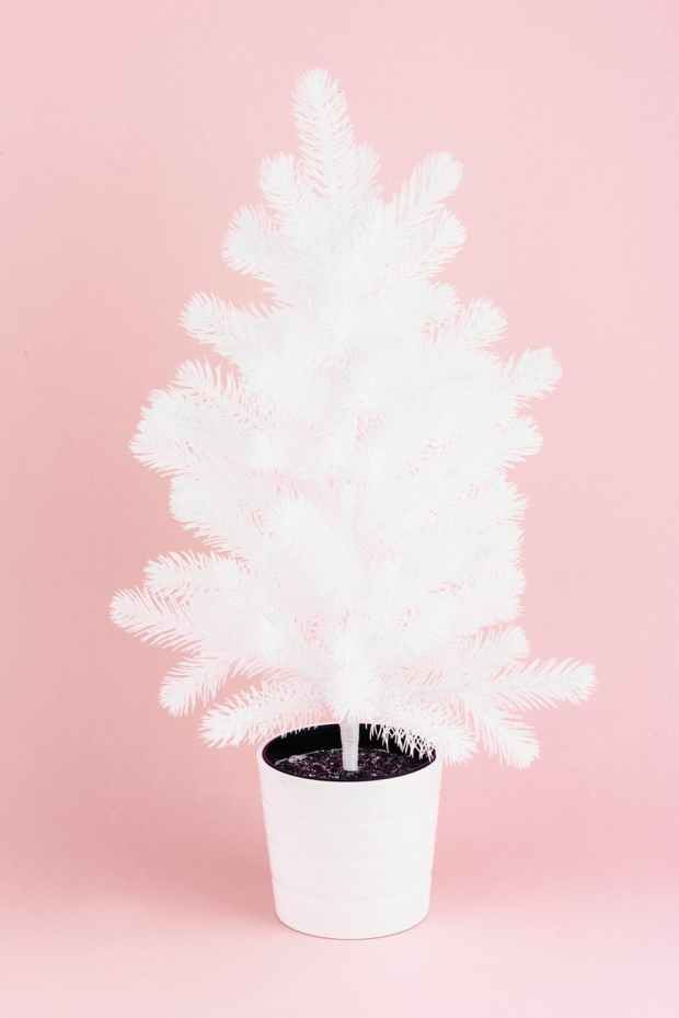 white christmas tree in white pot