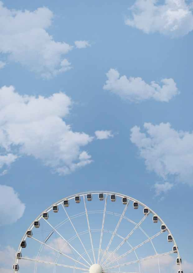 big wheel blue sky bright color