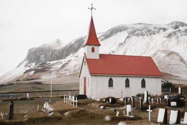 dyrholaey church and graveyard in iceland